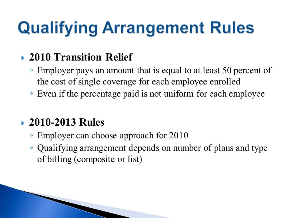 2010 Transition Relief Rules