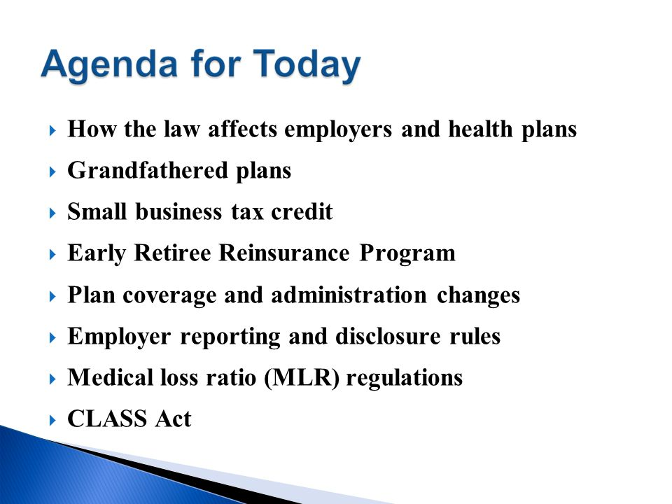 How the law affects employers and health plans