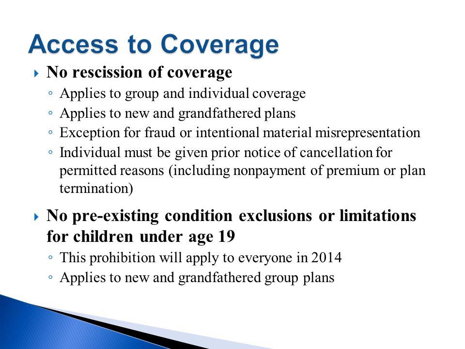No rescission of coverage
