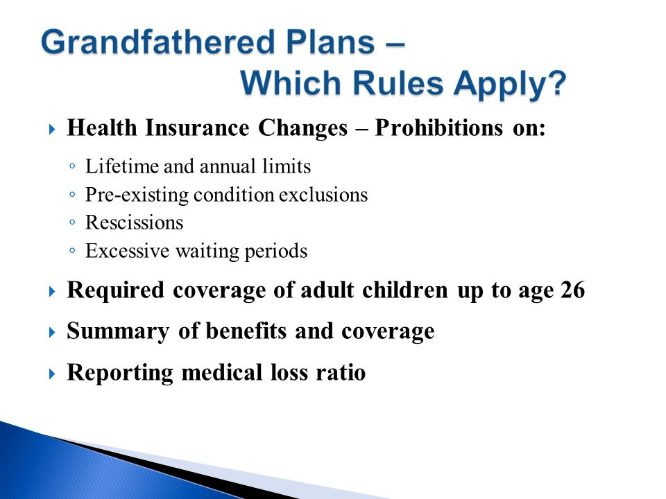 Health Insurance Changes – Prohibitions on:
