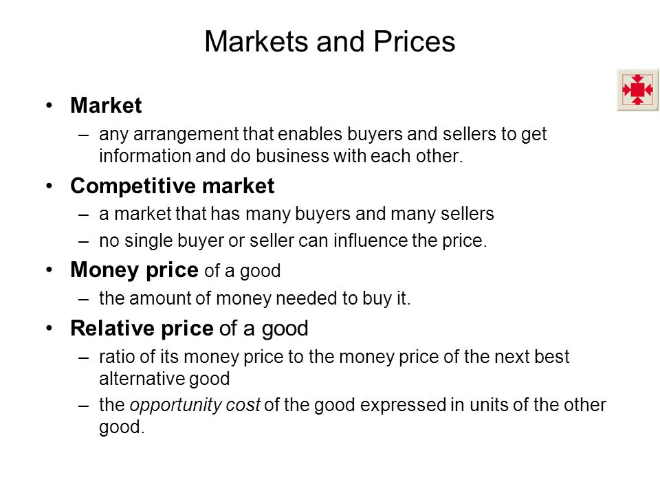 Markets and Prices Market Competitive market Money price of a good
