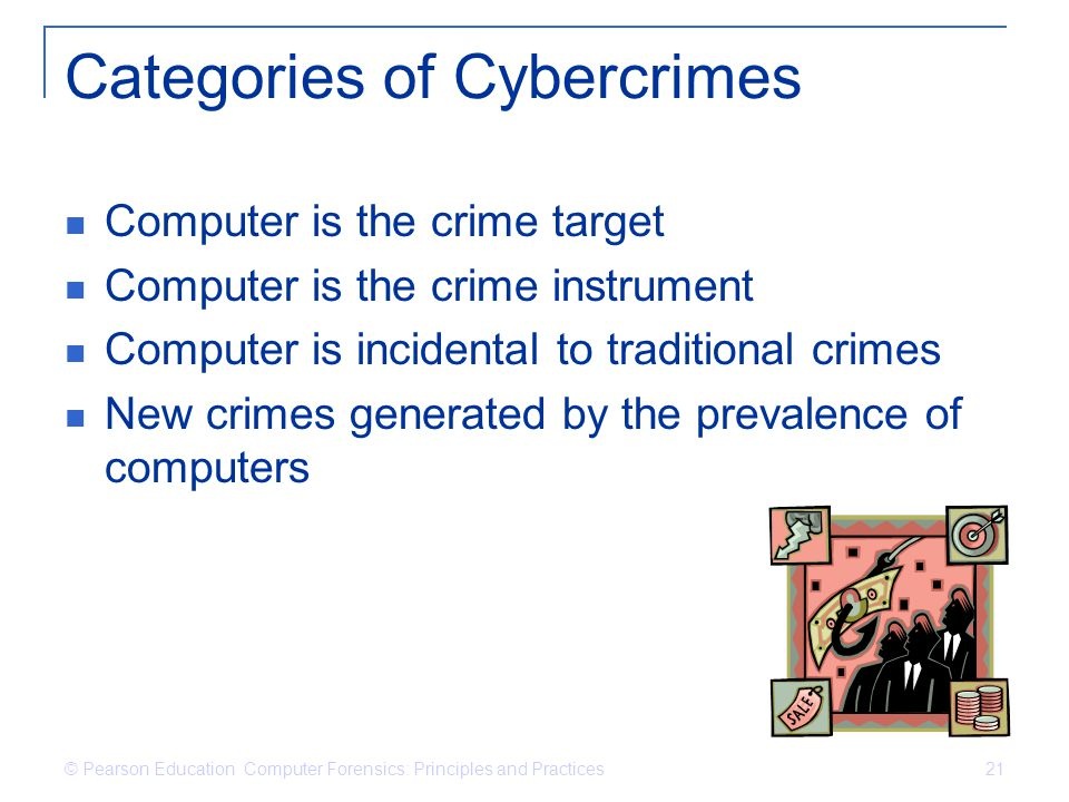 categories of computer crime Computer crime and security : there are four major categories of computer crime: internal computer crimes--trojan horses, logic bombs, trap doors, worms.