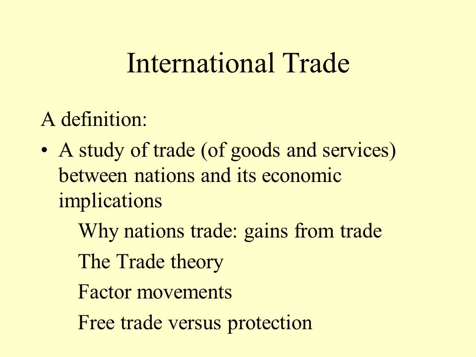 Use 'international trade' in a Sentence