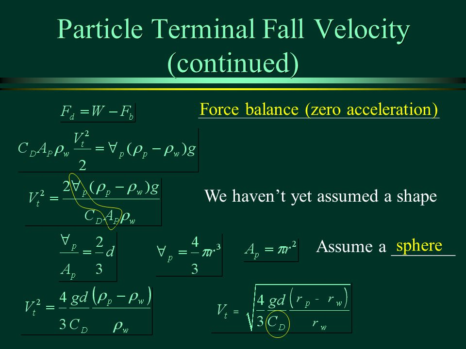 Particle Terminal Fall Velocity (continued)
