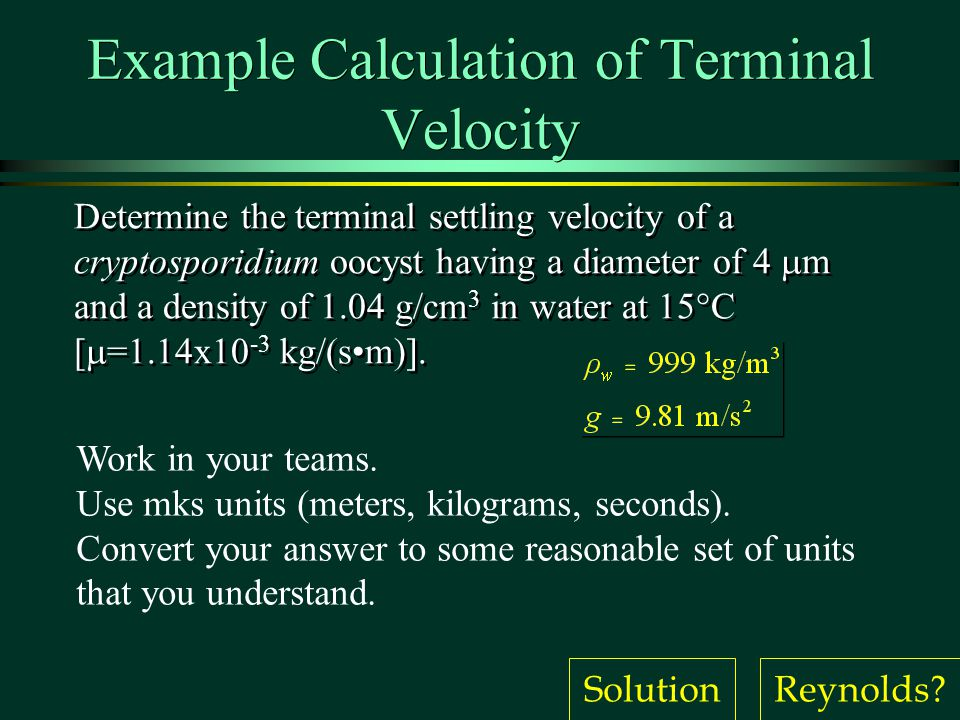 Example Calculation of Terminal Velocity