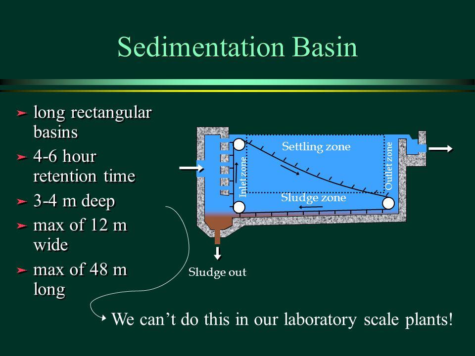 Sedimentation Basin long rectangular basins 4-6 hour retention time