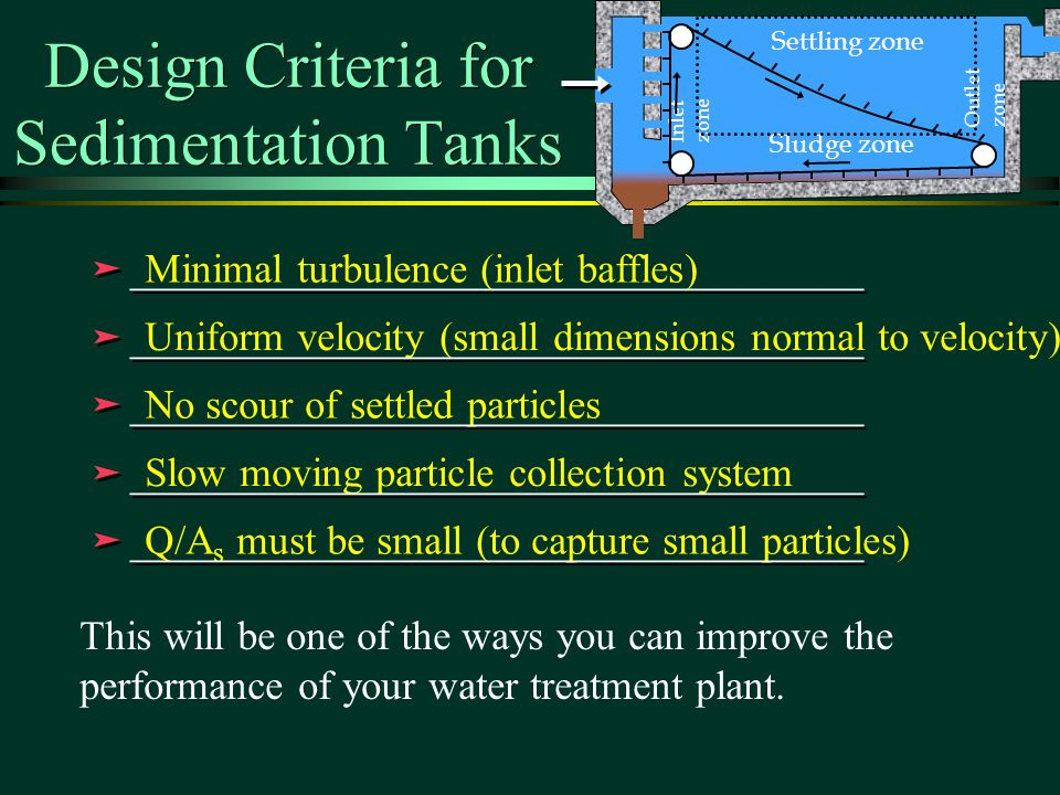 Design Criteria for Sedimentation Tanks