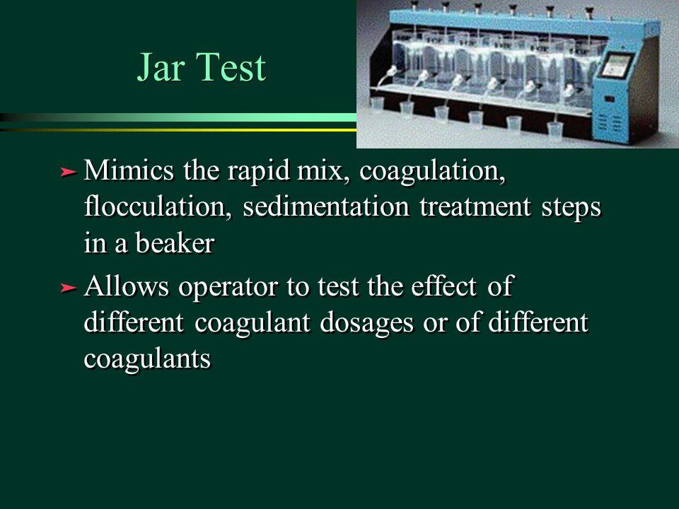 Jar Test Mimics the rapid mix, coagulation, flocculation, sedimentation treatment steps in a beaker.