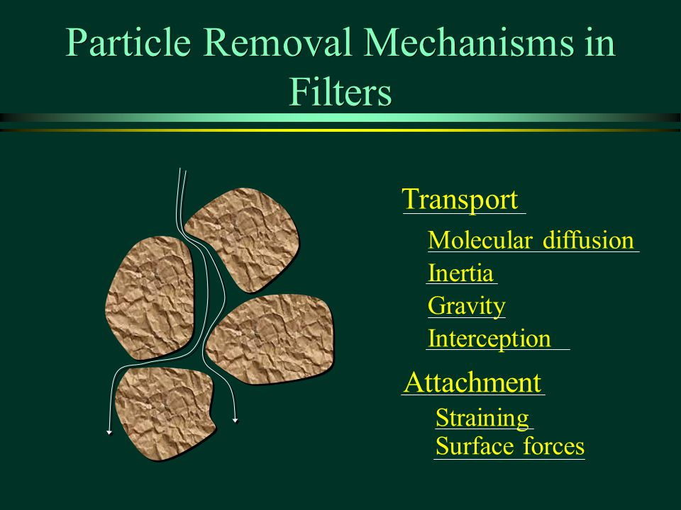 Particle Removal Mechanisms in Filters