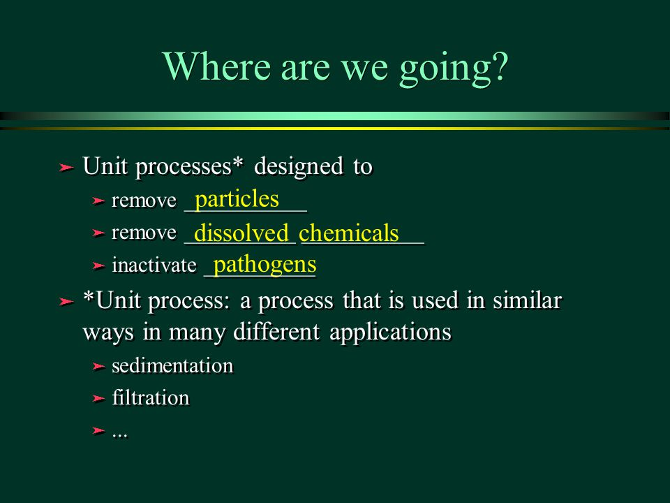 Where are we going Unit processes* designed to particles