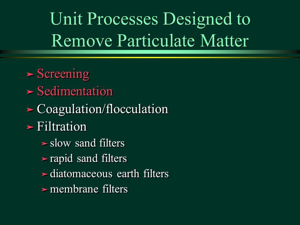 Unit Processes Designed to Remove Particulate Matter