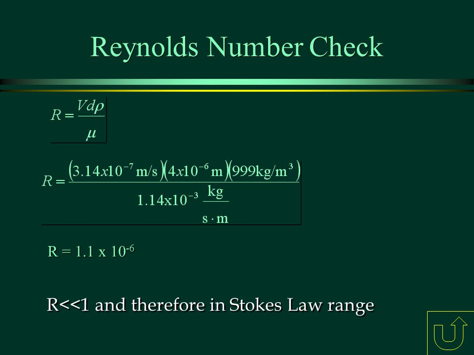 Reynolds Number Check R<<1 and therefore in Stokes Law range
