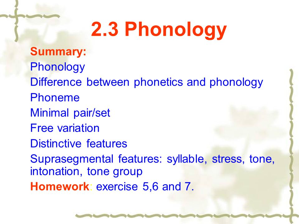 phonology and english classes English phonology course of vowel and consonant sounds in the major dialects in the sound system of english exercises- natural classes.