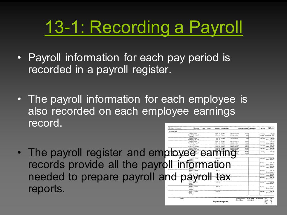 13-1: Recording a Payroll Payroll information for each pay period is recorded in a payroll register.