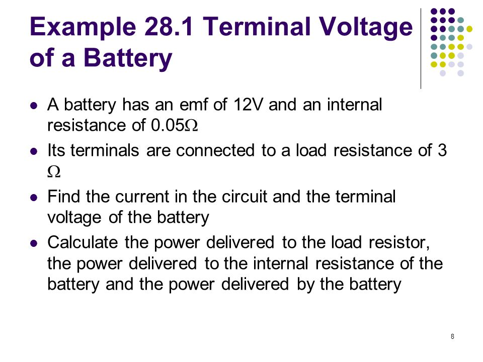 Terminal voltage of a battery