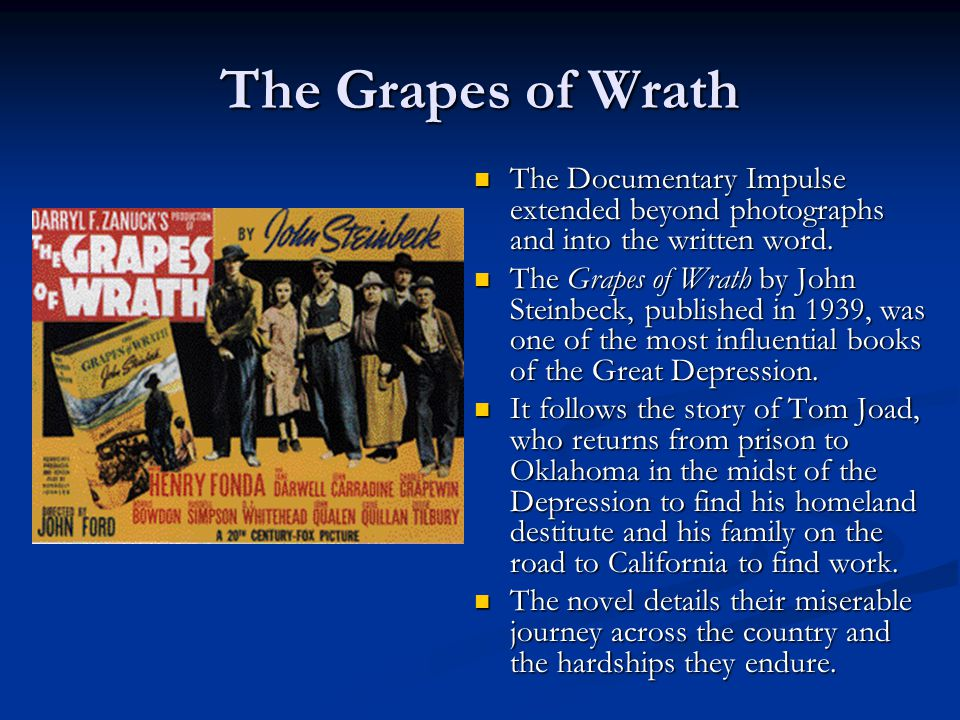 an analysis of joads journey in the grapes of wrath a novel by john steinbeck The grapes of wrath, novel by john steinbeck, published in 1939  interludes,  chronicles the struggles of the joad family on a failing oklahoma farm that is.