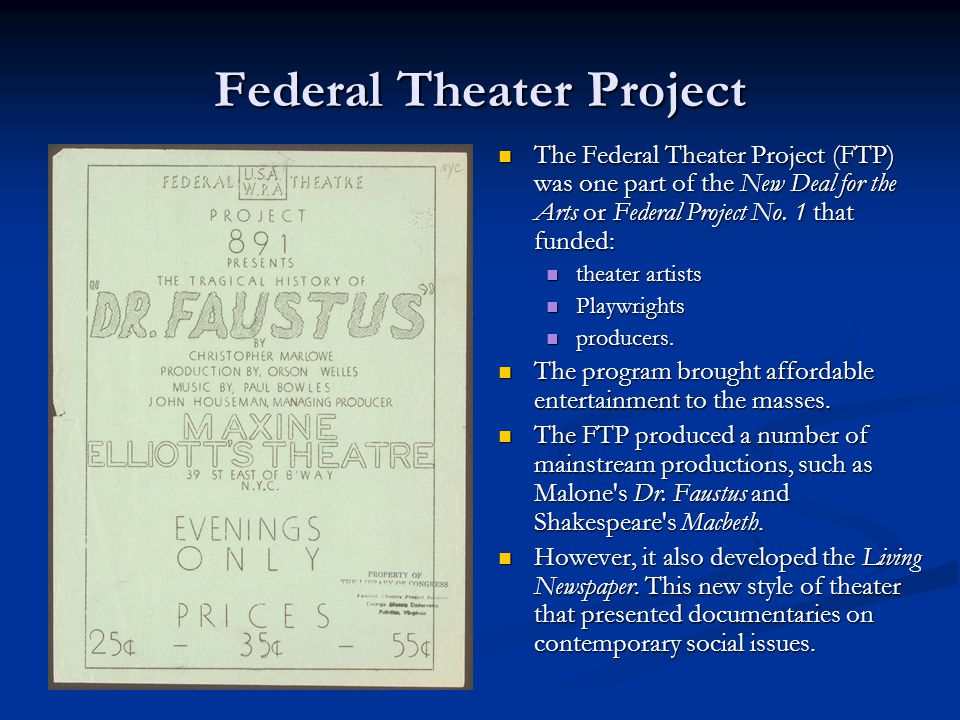 federal project number one Unlike the highly publicized federal project number one projects in art, theater,  writing, music, and historical records surveys, the museum extension project.