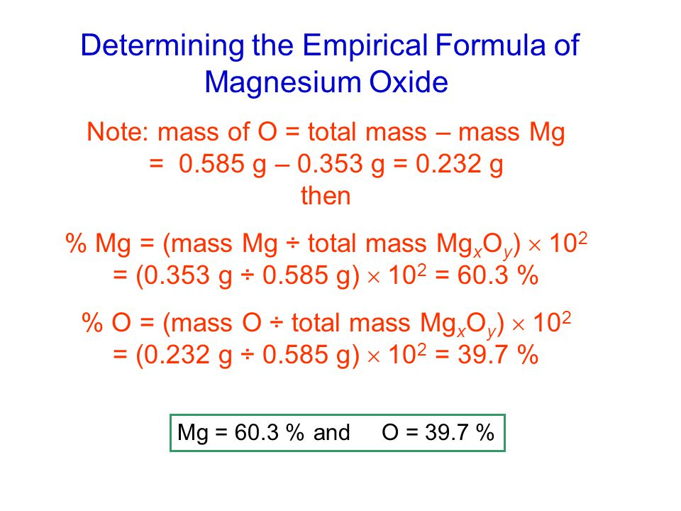 magnesium oxide report chemistry experiment empirical Here we use gravimetric analysis to determine the empirical formula of magnesium oxide.