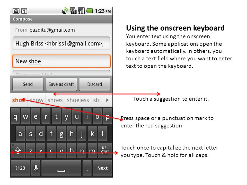 Using the onscreen keyboard