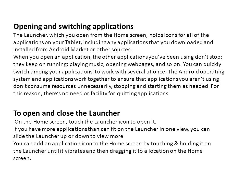 Opening and switching applications