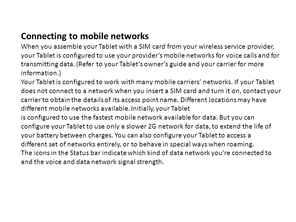 Connecting to mobile networks