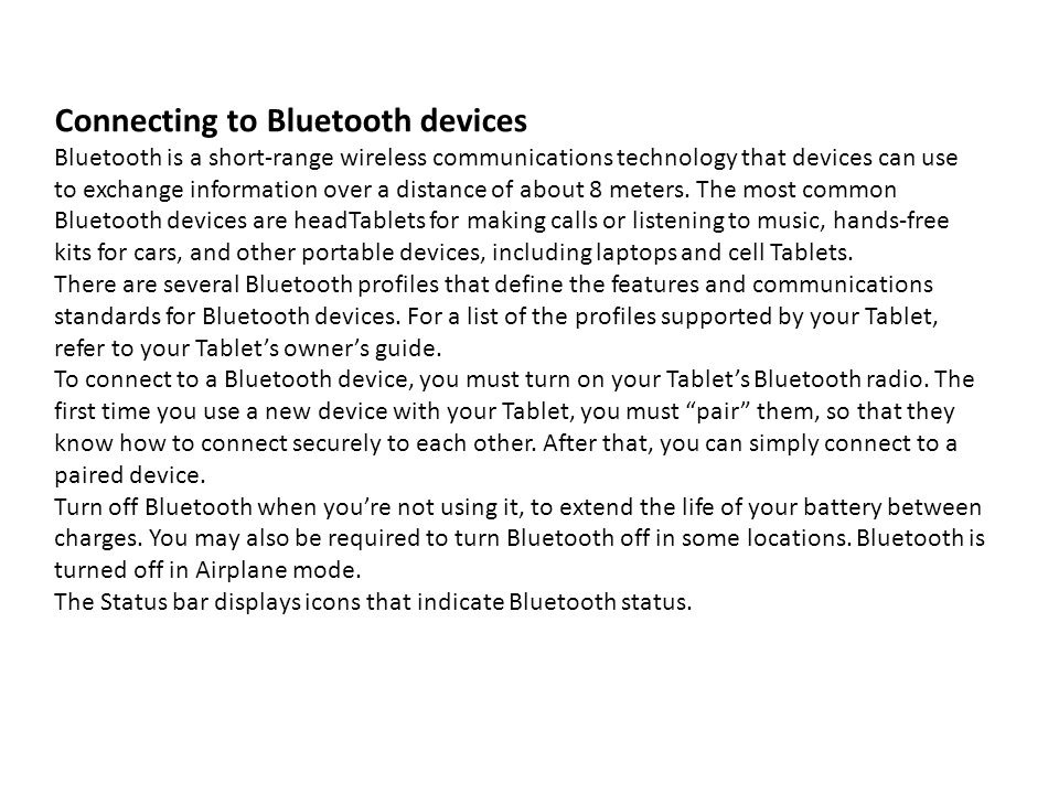 Connecting to Bluetooth devices