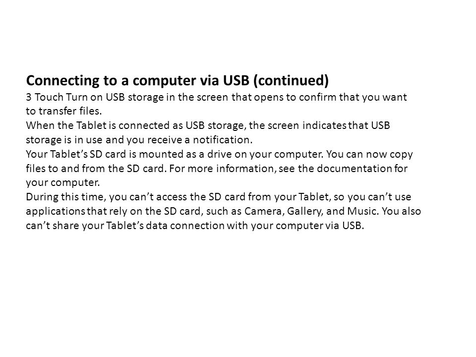 Connecting to a computer via USB (continued)