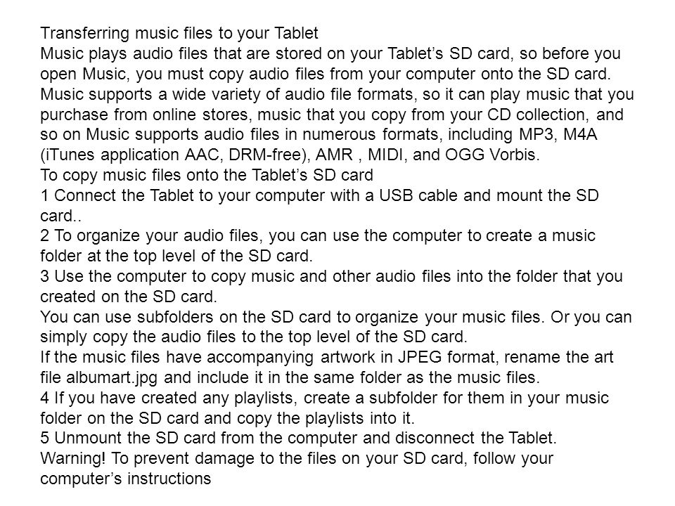 Transferring music files to your Tablet