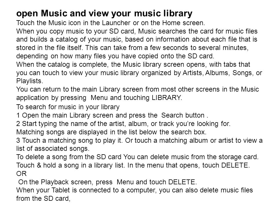open Music and view your music library