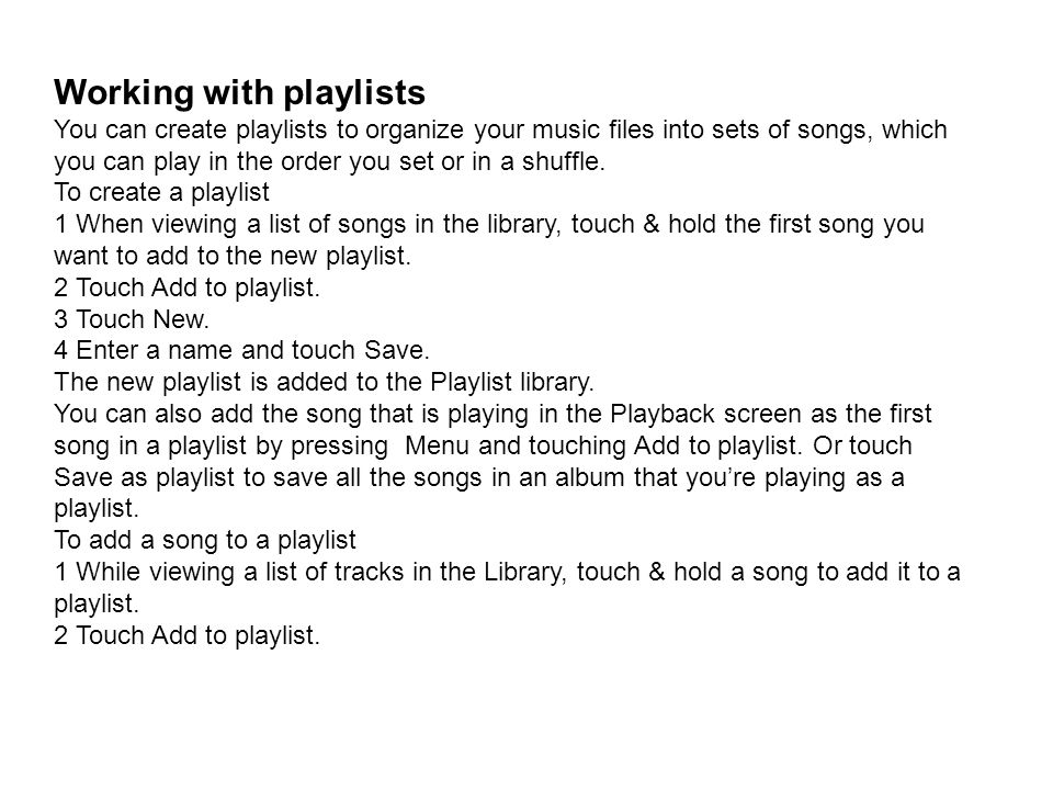 Working with playlists