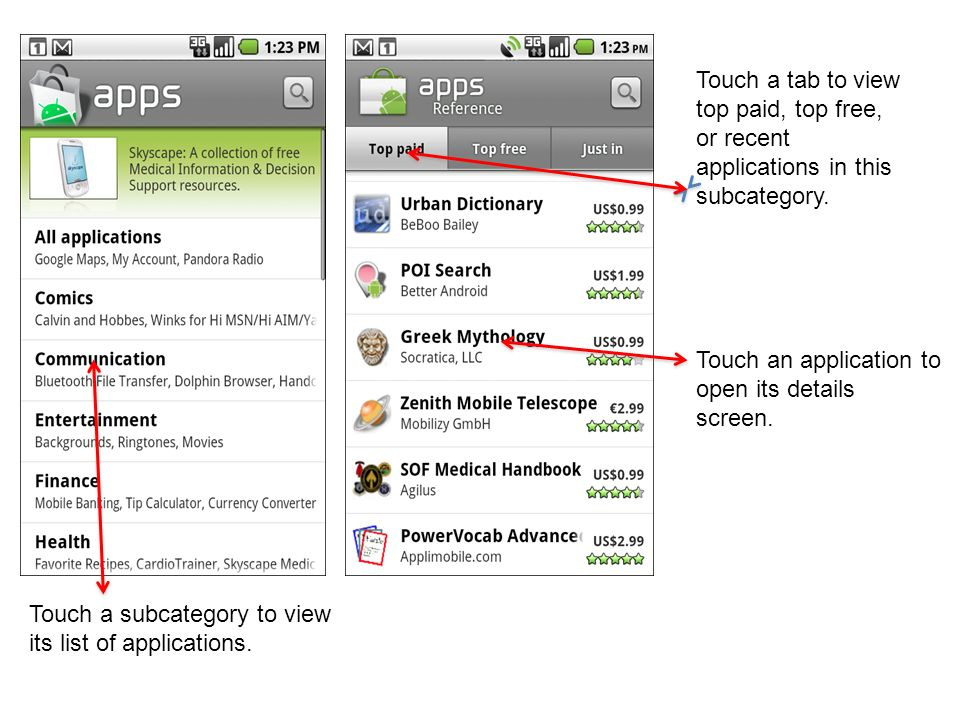 Touch a tab to view top paid, top free, or recent applications in this subcategory.
