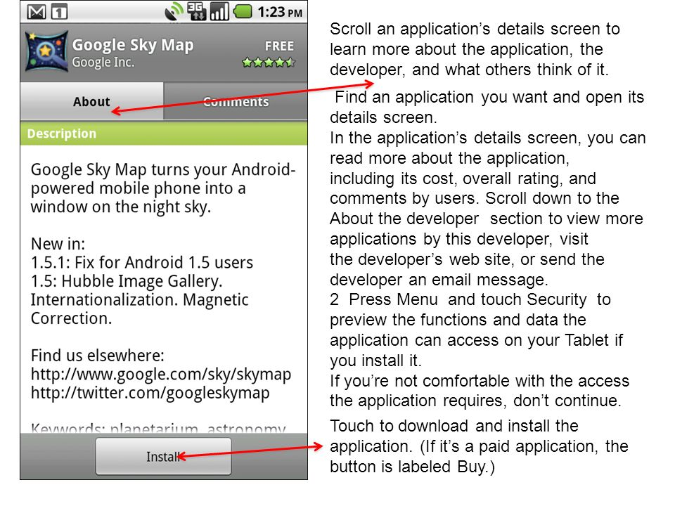 Scroll an application's details screen to