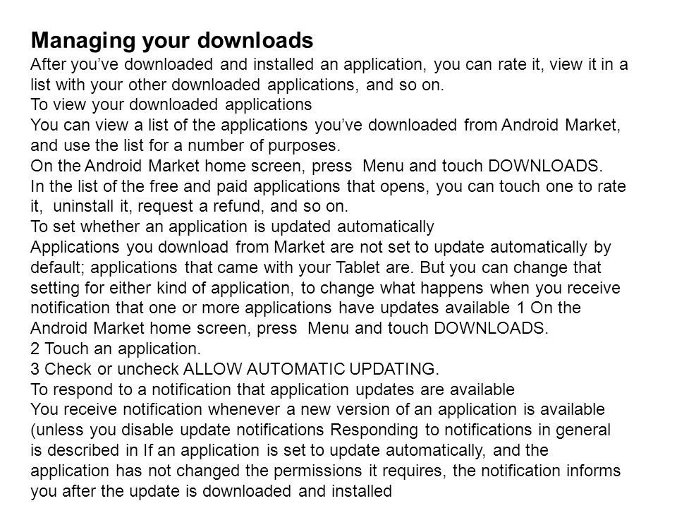 Managing your downloads
