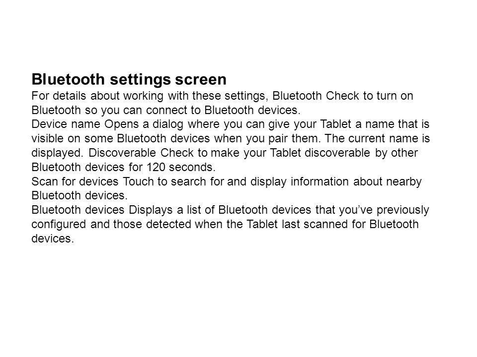Bluetooth settings screen