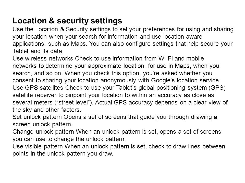 Location & security settings
