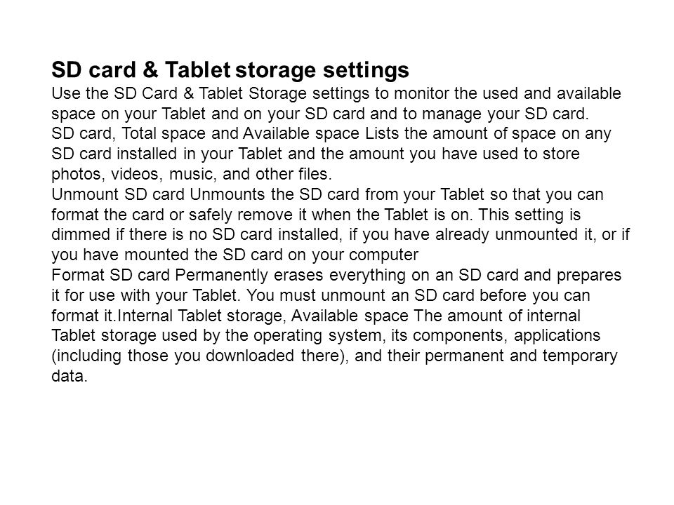 SD card & Tablet storage settings