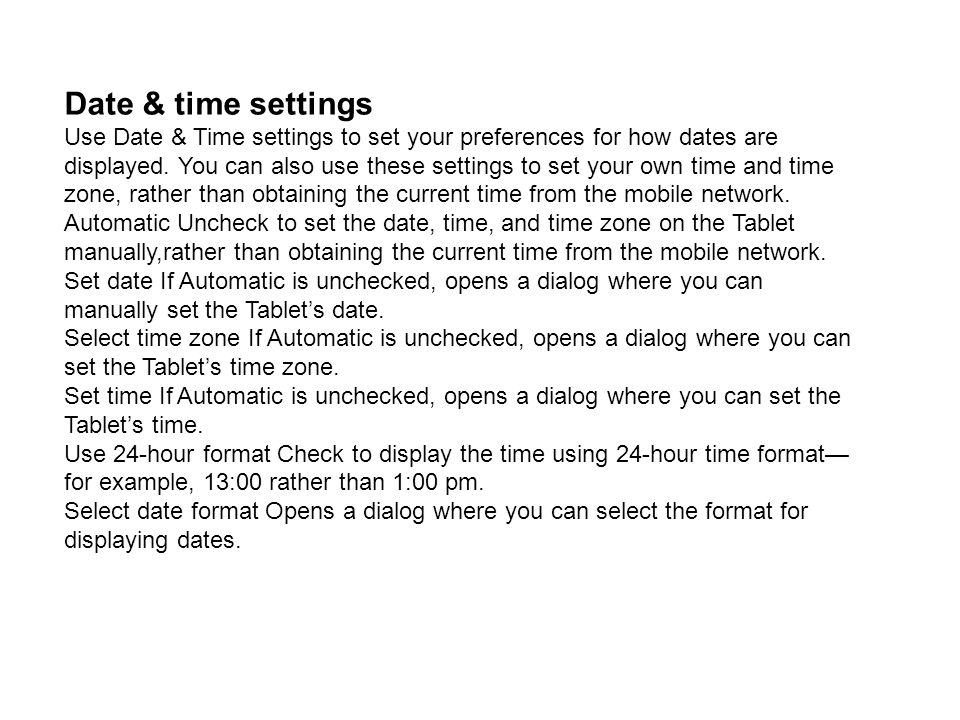 Date & time settings