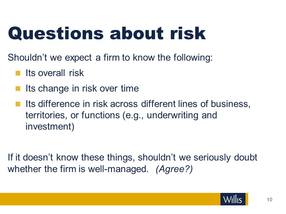 Questions about risk Shouldn't we expect a firm to know the following: