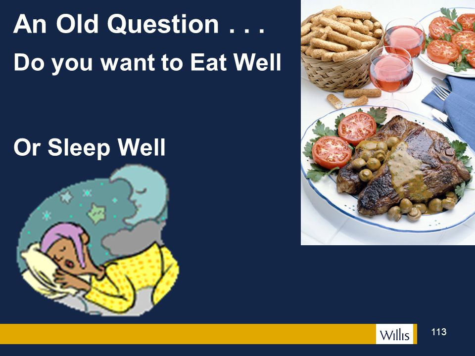 An Old Question . . . Do you want to Eat Well Or Sleep Well