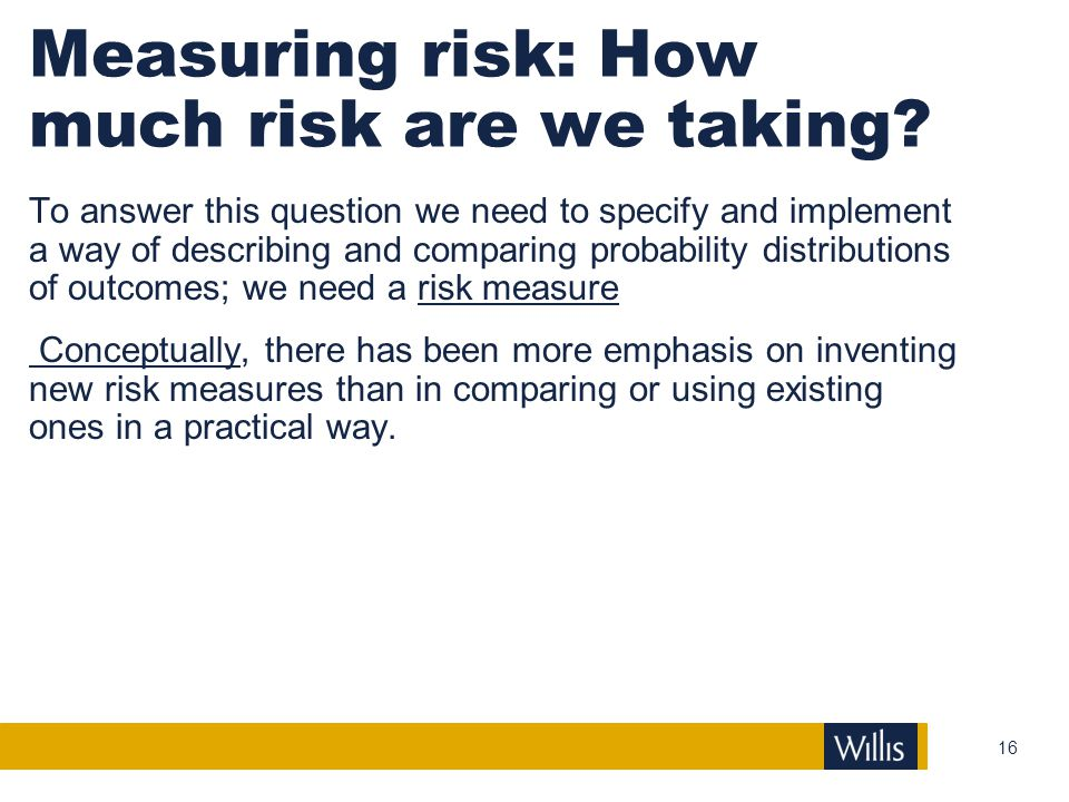 Measuring risk: How much risk are we taking