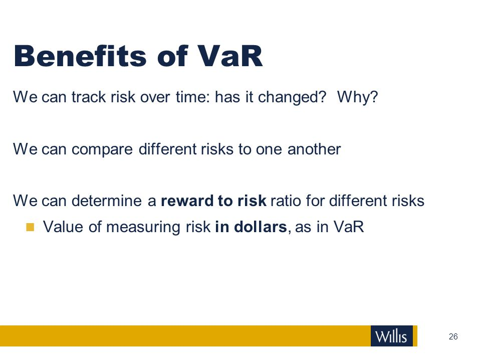 Benefits of VaR We can track risk over time: has it changed Why