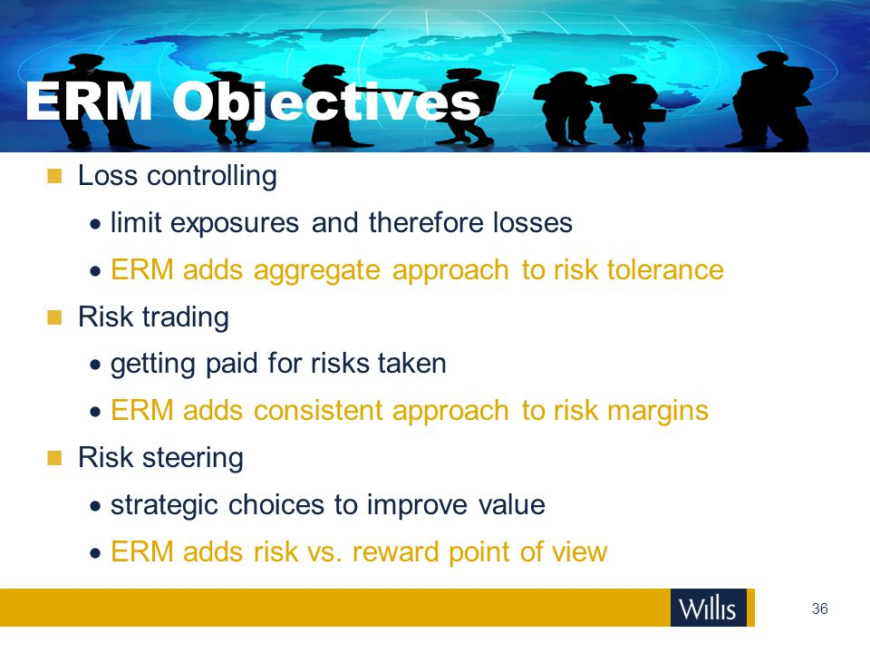 ERM Objectives Loss controlling limit exposures and therefore losses