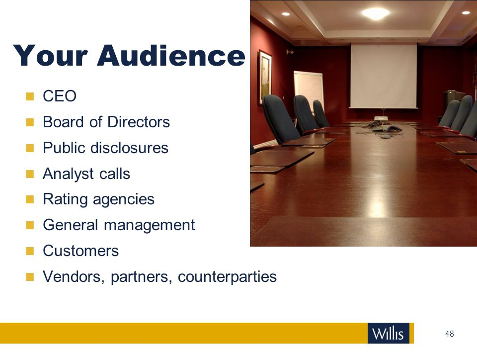 Your Audience CEO Board of Directors Public disclosures Analyst calls
