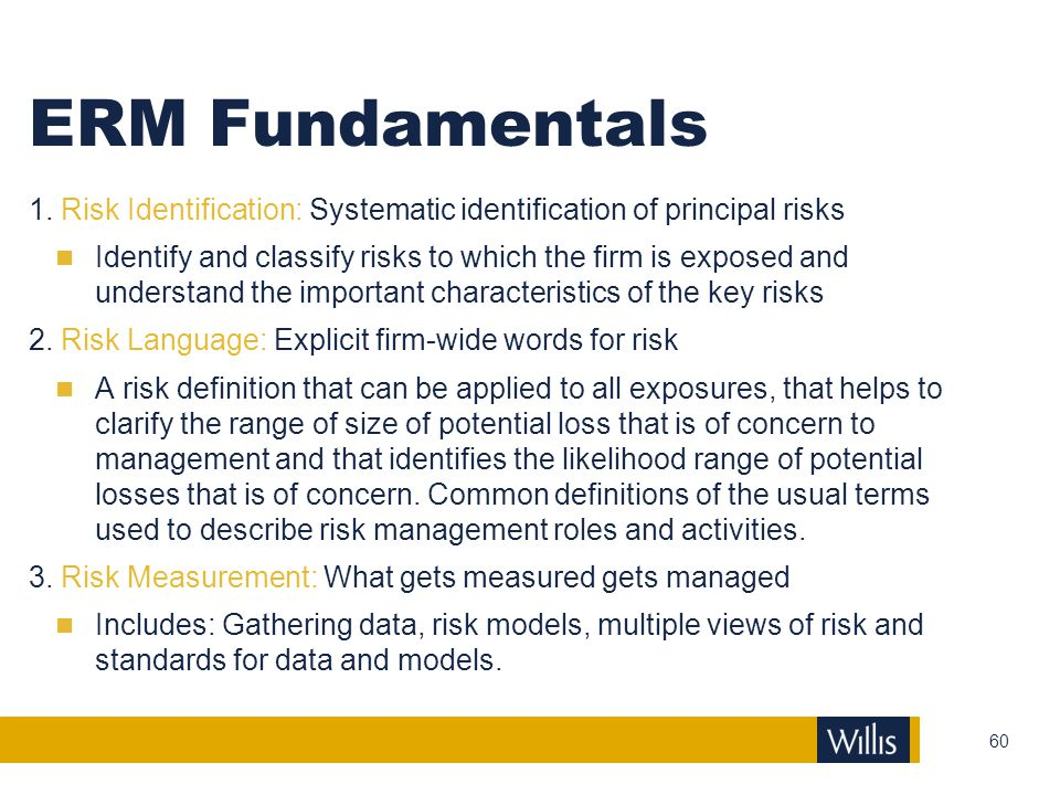 ERM Fundamentals 1. Risk Identification: Systematic identification of principal risks.