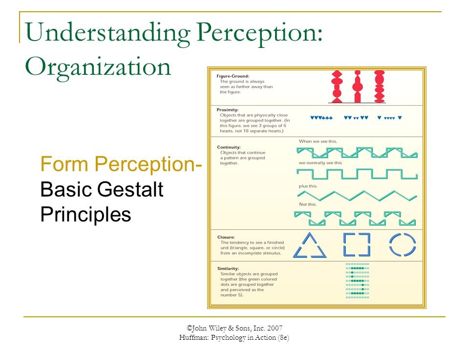 perceptual form organization Subject: what is perceptual organization  he scored high in visual spatial and visual form constancy, but very low in visual discrimination.