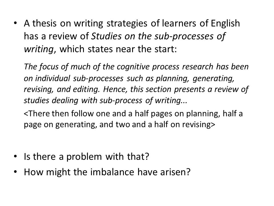A thesis on writing strategies of learners of English has a review of Studies on the sub-processes of writing, which states near the start: