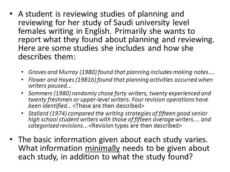 A student is reviewing studies of planning and reviewing for her study of Saudi university level females writing in English. Primarily she wants to report what they found about planning and reviewing. Here are some studies she includes and how she describes them: