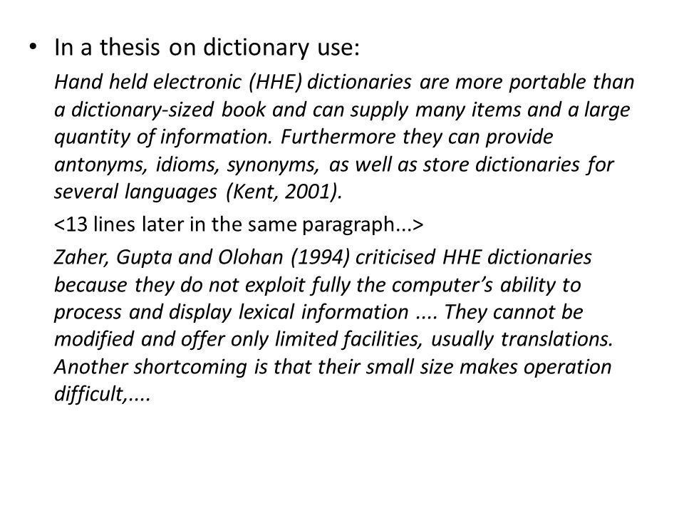 In a thesis on dictionary use: