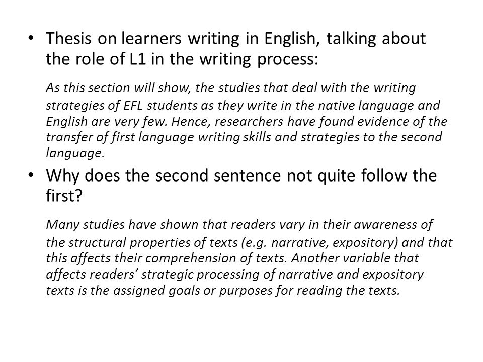 Thesis on learners writing in English, talking about the role of L1 in the writing process: