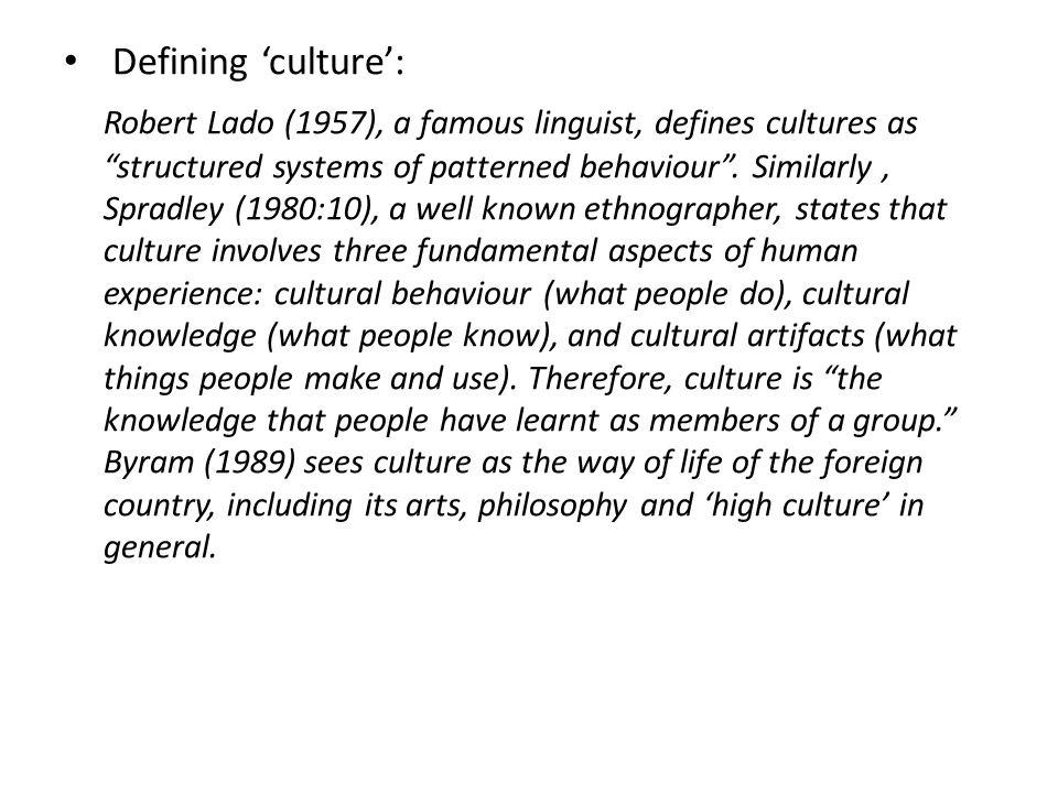 Defining 'culture':